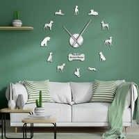 Niemieckie rasy psów mastif niemiecki ozdoby do dekoracji wnętrz Great Dane DIY duży zegar ścienny 3D salon dekoracyjny cichy zegar ścienny