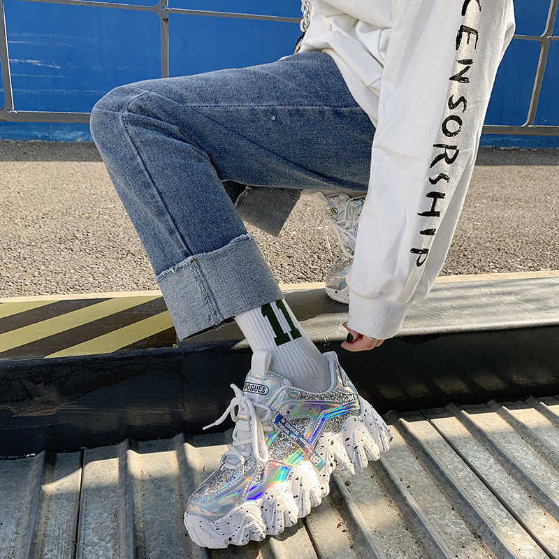 Moipheng أحذية رياضية مكتنزة 2020 جديد وصول بلينغ بو حذاء أبيض امرأة أحذية رياضية مطرزة القماش Zapatillas Mujer الفتيات حذاء كاجوال