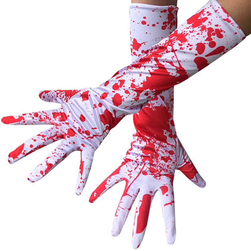 High Elastic Long Gloves Party Personality Blood Drop Horror Blood Hand Glove Sunscreen Anti UV Driving Glove Size 38cm