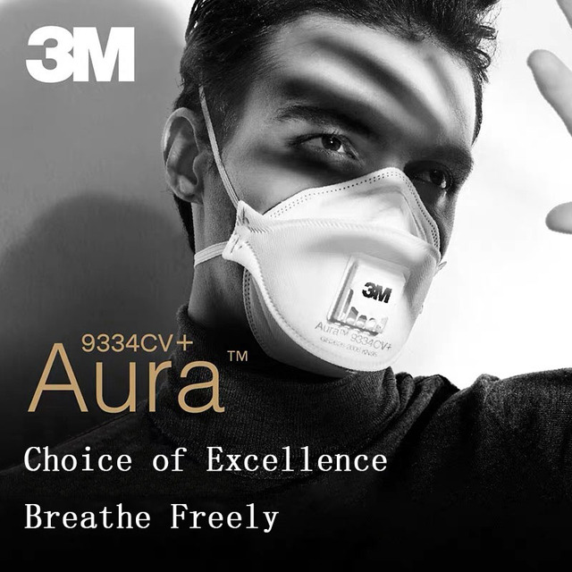 3M Aura Mask 3pcs/Box 9332 9334 9334CV Dust Mouth Masks Protective Filter  Haze Dust-proof Anti-fog Safety Face Mask 1