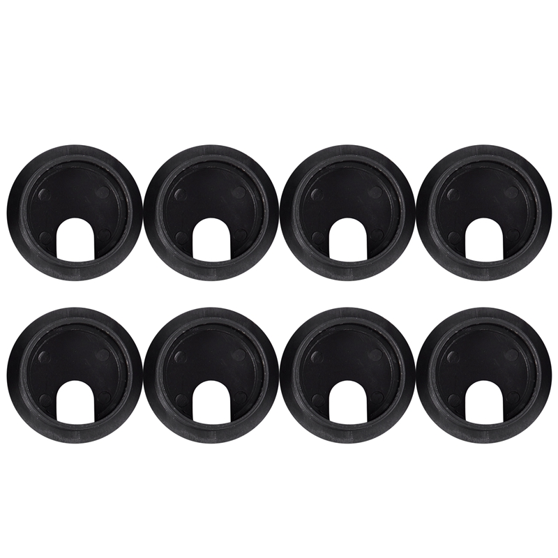 Black Round Plastic Computer Desk Cable Grommet Hole Cover 35mm 8Pcs
