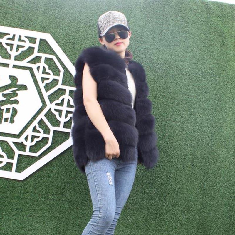 Women's Fox Fur Vest Autumn And Winter Casual Comfortable Solid Color Thick Warm Medium Long Real Fox Fur Vest Female