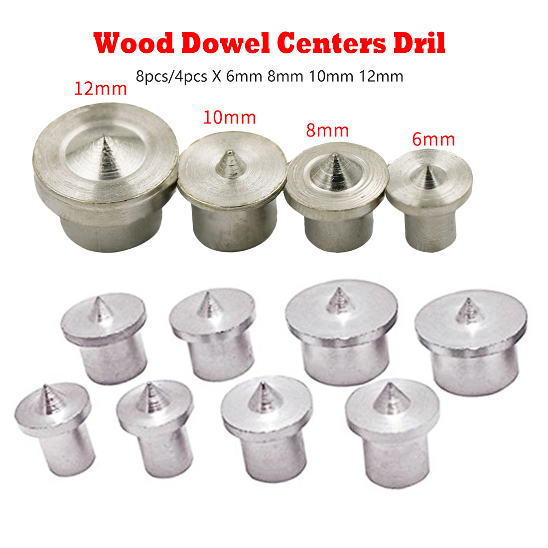 Woodworking Tools Dowel Centre Point Pin Set 8pcs/4pcs 6mm 8mm10mm 12mm Dowel Tenon Center Set Transfer Plugs Wood Drill