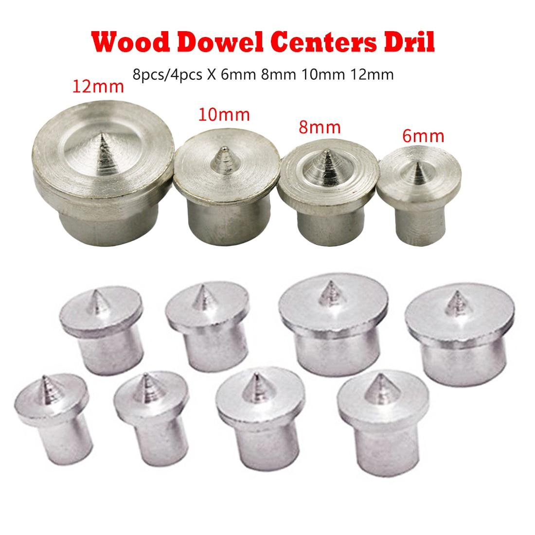 Woodworking Tools Dowel Centre Point Pin Set 8pcs/4pcs 6mm 8mm10mm 12mm Dowel Tenon Center Set Transfer Plugs Wood Drill