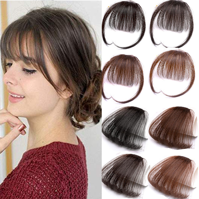 HOUYAN Fake Long Blunt Bangs Hair Extension Synthetic False Hair Piece Natural Fake Hair Bangs For Women High Temperature Fiber