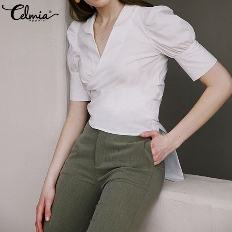 Women Fashion Tops And Blouses 2020 Celmia Summer Back Bandage Sexy Office Lady Shirts Short Sleeve V Neck Casual Party Blusas 7