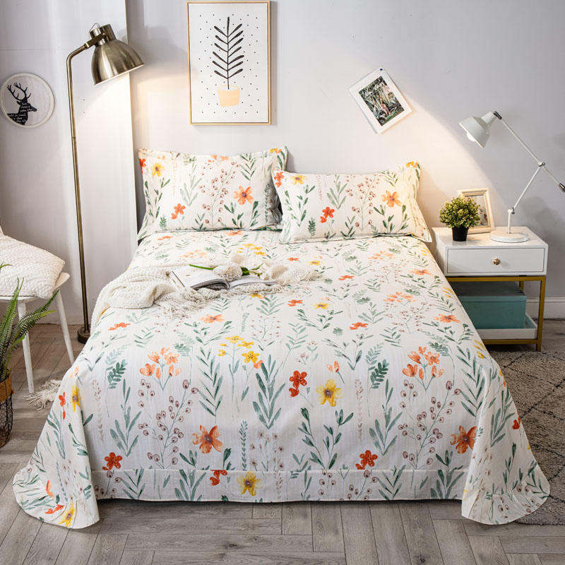 1 pc Bed Sheet Cotton Flat Sheet Queen Size Flower Printed Pastoral Bed Linen Single Top Sheet (No Pillowcase) Cotton Bedclothes