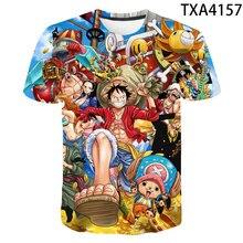 Цельнокроеная футболка для мужчин, женщин, детей, 3D печатных футболка классная с рисованным аниме, Летние повседневные топы, футболки Луффи ...