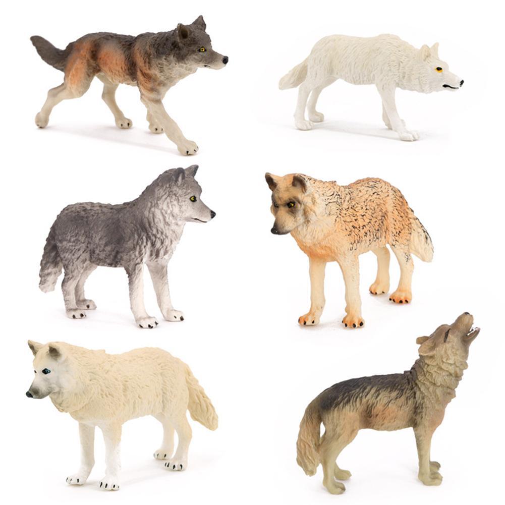 6 pçs lobo estatuetas conjunto de plástico realista lobo família ação figuras animais coleção brinquedos educativos para crianças presente natal