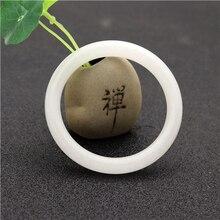 Натуральный белый китайский нефритовый браслет ювелирные изделия Модные аксессуары женский счастливый амулет 54-64 мм