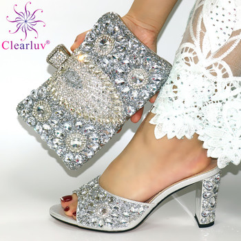 silver Italian Women Wedding Pumps with Purse African Women's Party Shoes and Bag Sets Women Shoes and Bag To Match for Parties