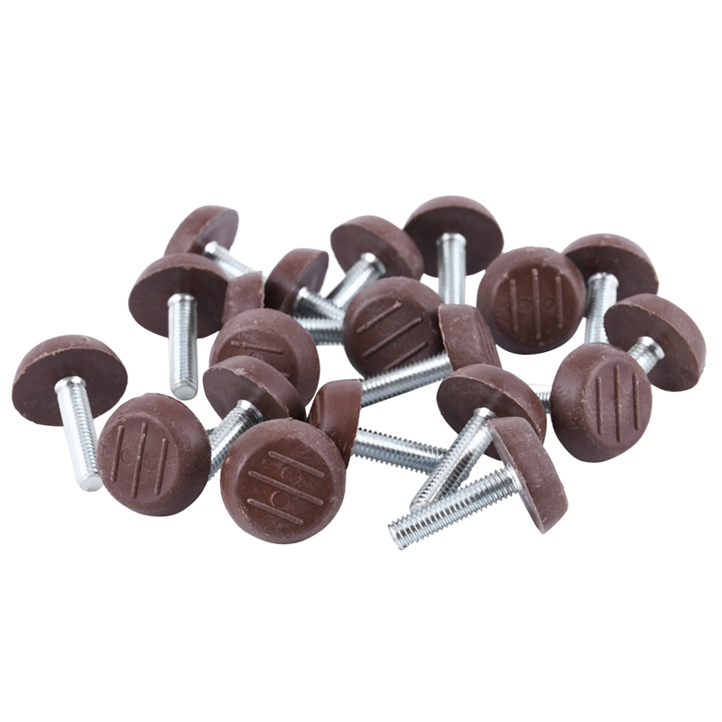 20x M6 Adjustable Screw Threaded Glide Feet Leveling Foot Home Chair Table 25mm Colour:Coffee