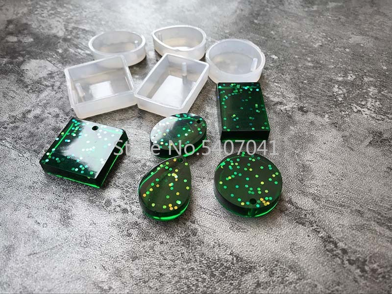 Popular5PCS/LOT DIY Silicone Jewelry Tools For Making Pendant Resin Casting Mould Handcraft Tool