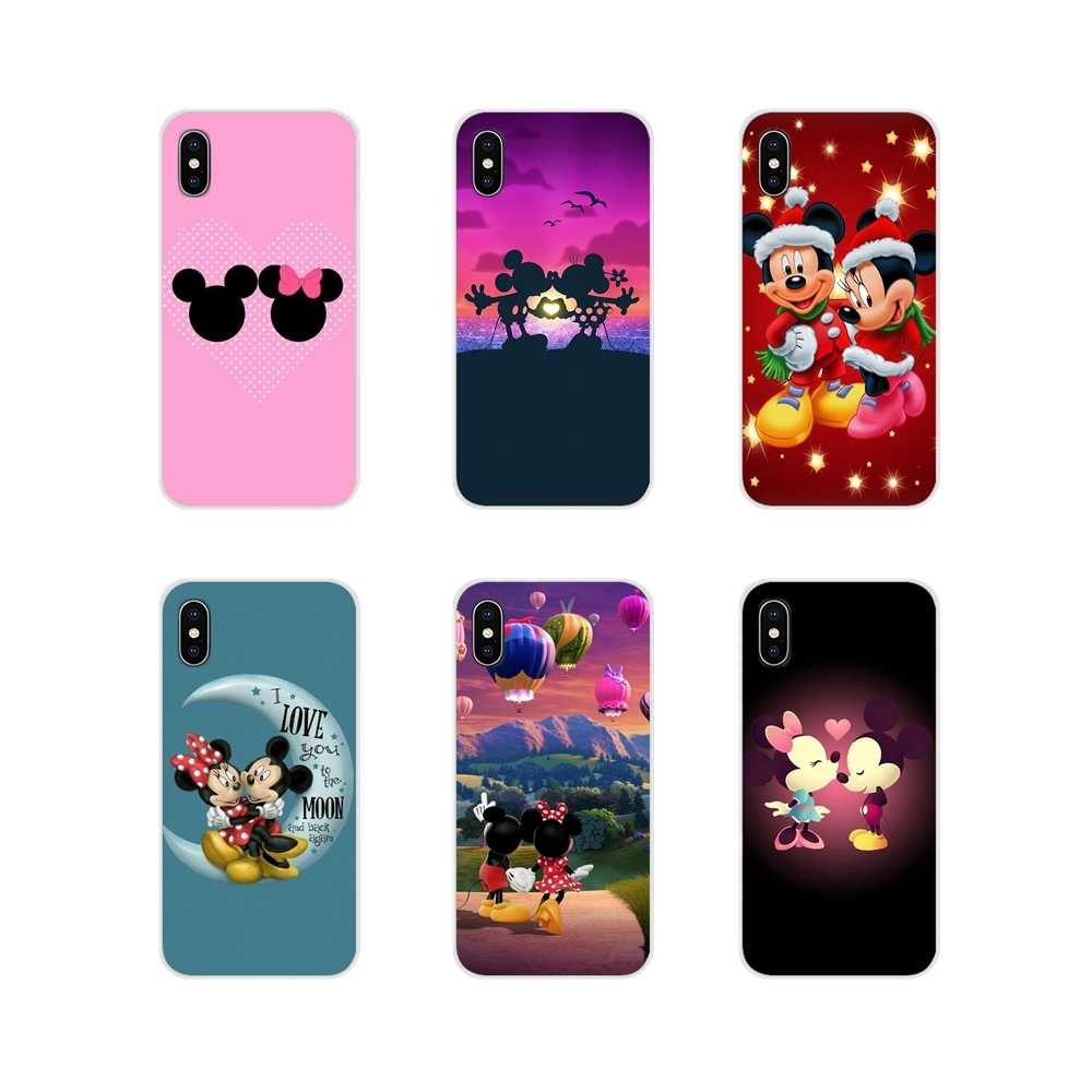 TPU ฝาครอบ Minnie Mickey Mouse Kissing สำหรับ Apple iPhone X XR XS 11Pro MAX 4S 5S 5C SE 6S 7 8 PLUS iPod touch 5 6