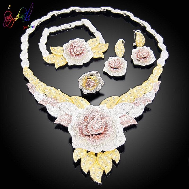 Image 2 - Yulaili New Dubai Jewelry Sets Austria Crystal Tri color Big  Flower Pendant Necklace Earrings Nigeria Wedding African BijouxJewelry  Sets