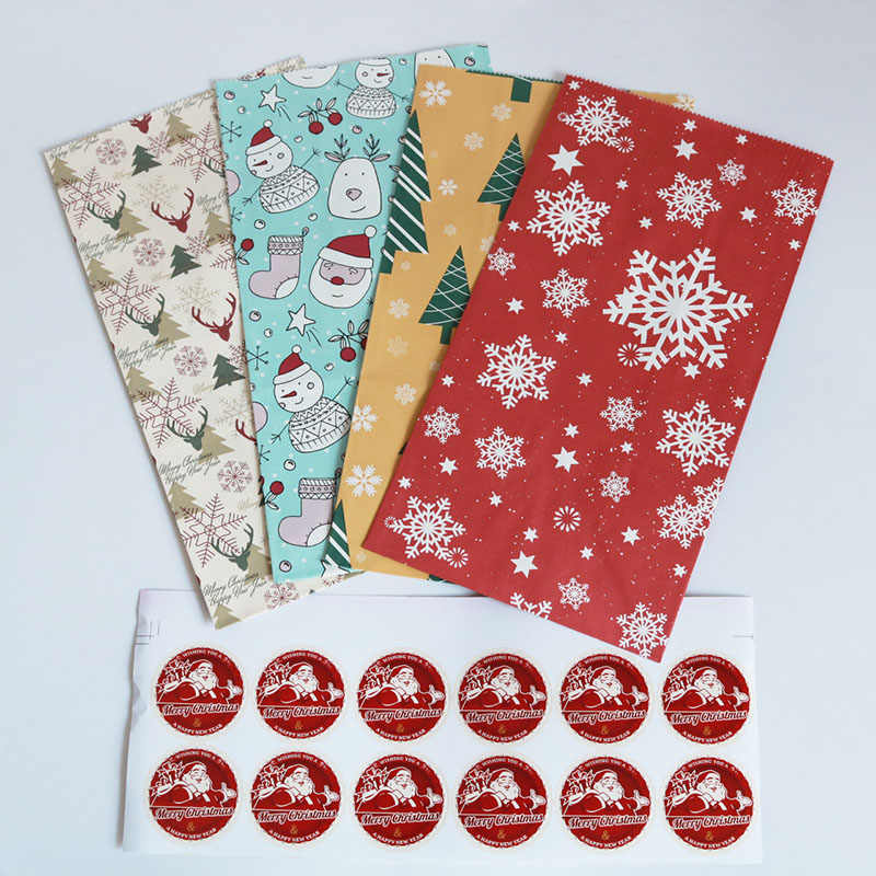Christmas Paper Bag Snowman Deer Pattern Popcorn Box Kraft Paper Bags for Gifts Xmas Party decorations 24pcs/lot