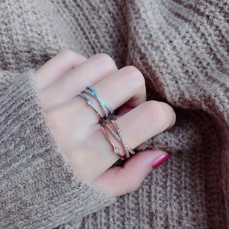 В Корейском стиле Новый дизайн Нежный Циркон Многослойные твист кольца для Для женщин девочек Регулируемый фаланга среднего пальца Кольца ...