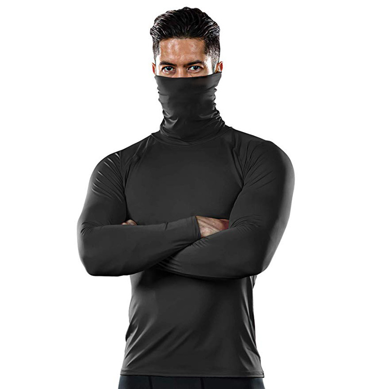 Outdoor Sports Long Sleeve High Collar Fitness Clothing Muscle Compression Base Shirt Wicking Breathable Men Soft T-shirt