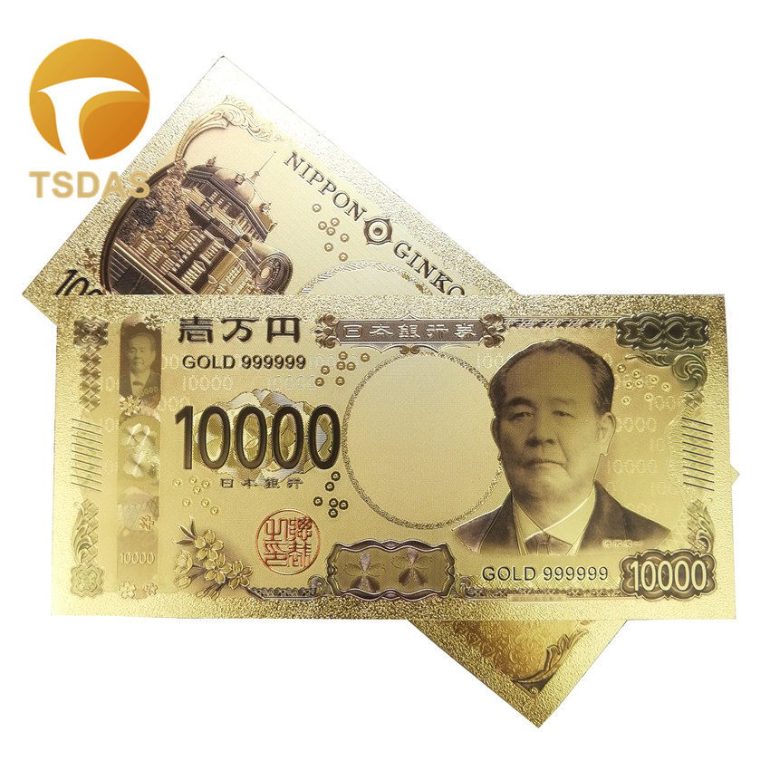 10pcs/lot Color Japan Banknotes 10000 Yen Gold in 24k Plated For House Decorations