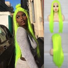Zesen longa reta fluorescente cor verde perucas de cabelo sintético preto perucas de cabelo para preto