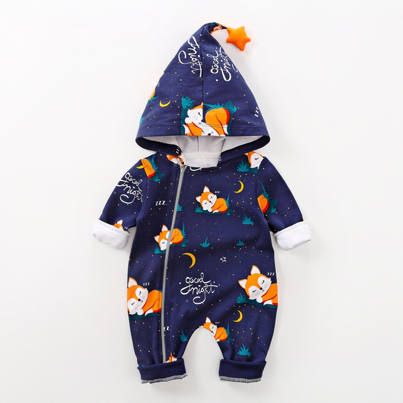 New Autumn Newborn Baby Girl Boy Clothes 0-18M Casual Hoodie Infant Animal Print Long Sleeve Cute Toddler Jumpsuit Outfits