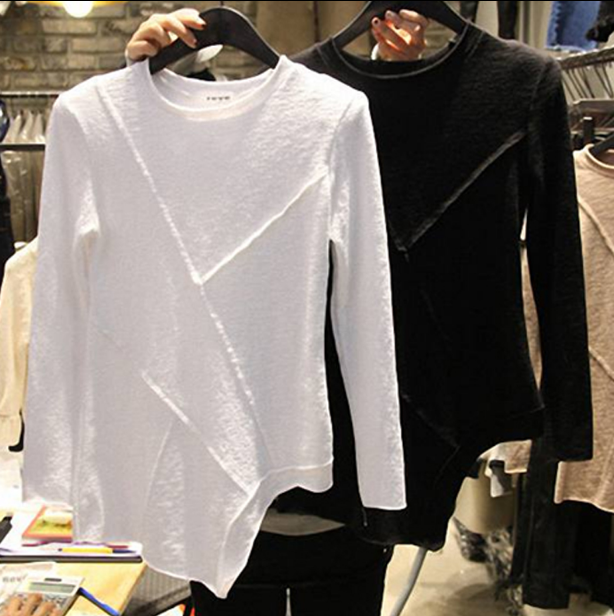 2020 Spring Summer New Solid Color Irregular Long Sleeve T-shirt Women's Korean-Style Casual Bottoming Shirt T-shirt Female Tee
