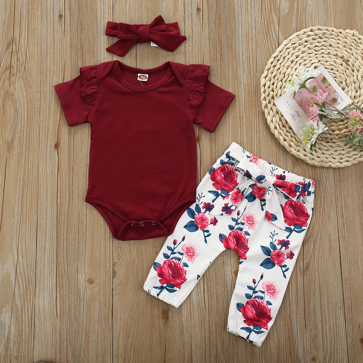 Pudcoco Newborn Baby Girl Clothes Solid Color Short Sleeve Knitted Cotton Romper Tops Flower Print Pants Headband 3Pcs Outfits