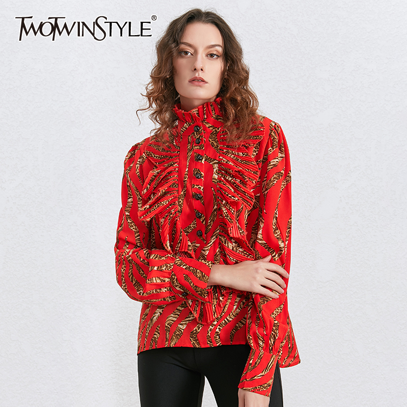 TWOTWINSTYLE Print Leopard Ruffle Women's Shirts Stand Collar Long Sleeve Vintage Shirt Blouse Female 2020 Autumn Fashion New