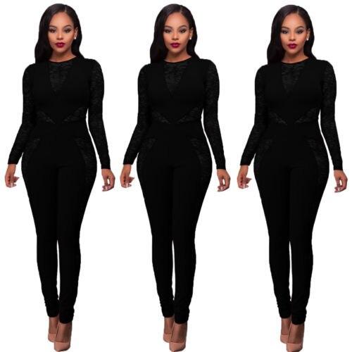 Hirigin Fasion المرأة كم طويل الجوف خارج بذلة Bodycon Clubwear طويل السراويل S-XL 2