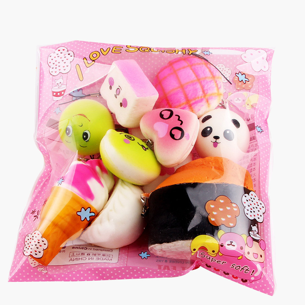 Slow Rising Decompression Fun Carry Play Toys Gift 10pcs Medium Mini Soft Bread Toys Key Cute Squeeze Toy L1213
