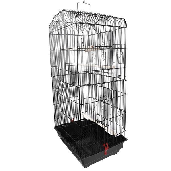 """37"""" Bird Parrot Cage Canary Parakeet Cockatiel LoveBird Finch Bird Cage with Wood Perches & Food Cups Black 1"""