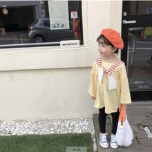 Г. Весенняя футболка для маленьких девочек Однотонные шелковые топы с длинными рукавами, Детские повседневные модные длинные базовые рубашки, одежда