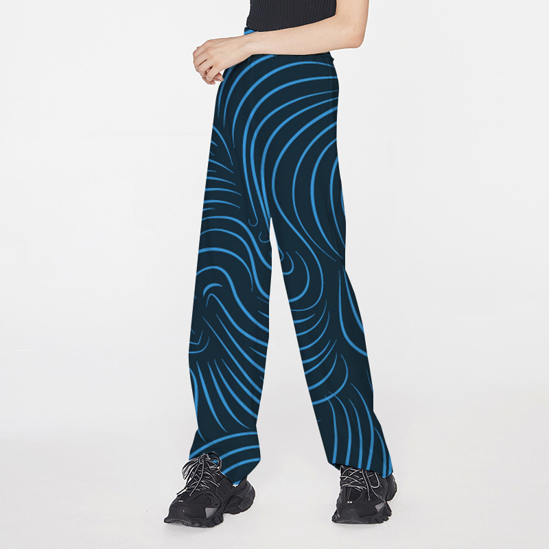 Focal20 Streetwear Blue Striped Print Women Pants Elastic Waist Wide Leg Female Trousers Casual Loose Spring Autumn Lady Bottoms 1