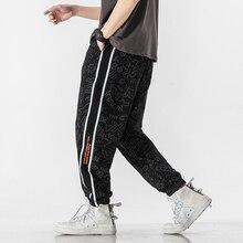 Pantalones de chándal de algodón para hombre, ropa de calle, moda lápiz, lino, longitud completa, con cordón, informales