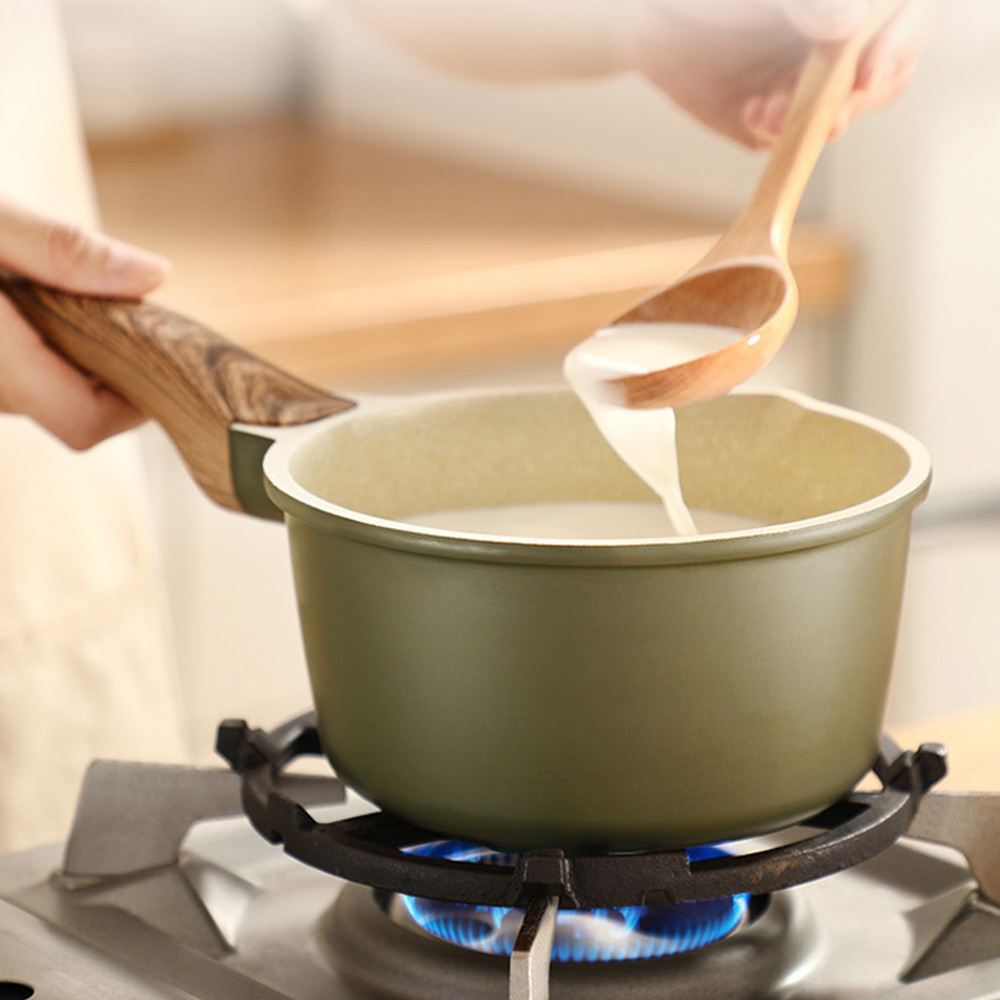 Milk Pan Cookware With Wooden Handle Mini Butter Warmer Saucepan Multi Functional Non-Stick Cooking Pan Tools Design With Cover