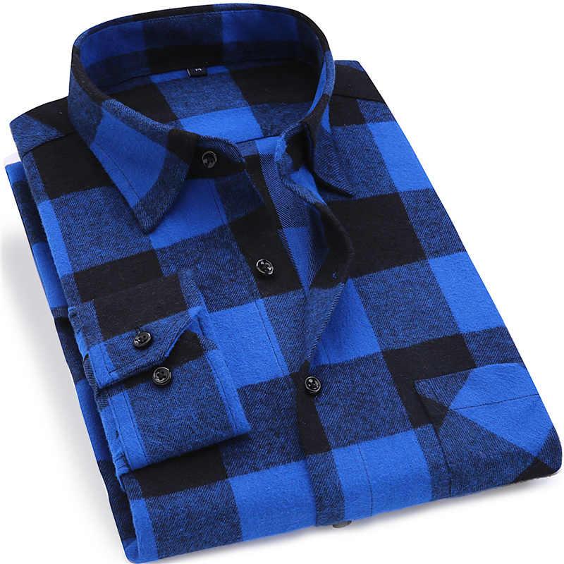 2020 品質フランネルチェック柄メンズシャツコットン春秋カジュアル長袖ドレスシャツソフト快適スリムフィットボタンダウン