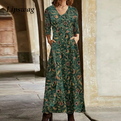 Mulheres vintage impressão o pescoço maxi vestido outono manga comprida hem elegante a linha vestidos de festa senhoras plus size vestido casual
