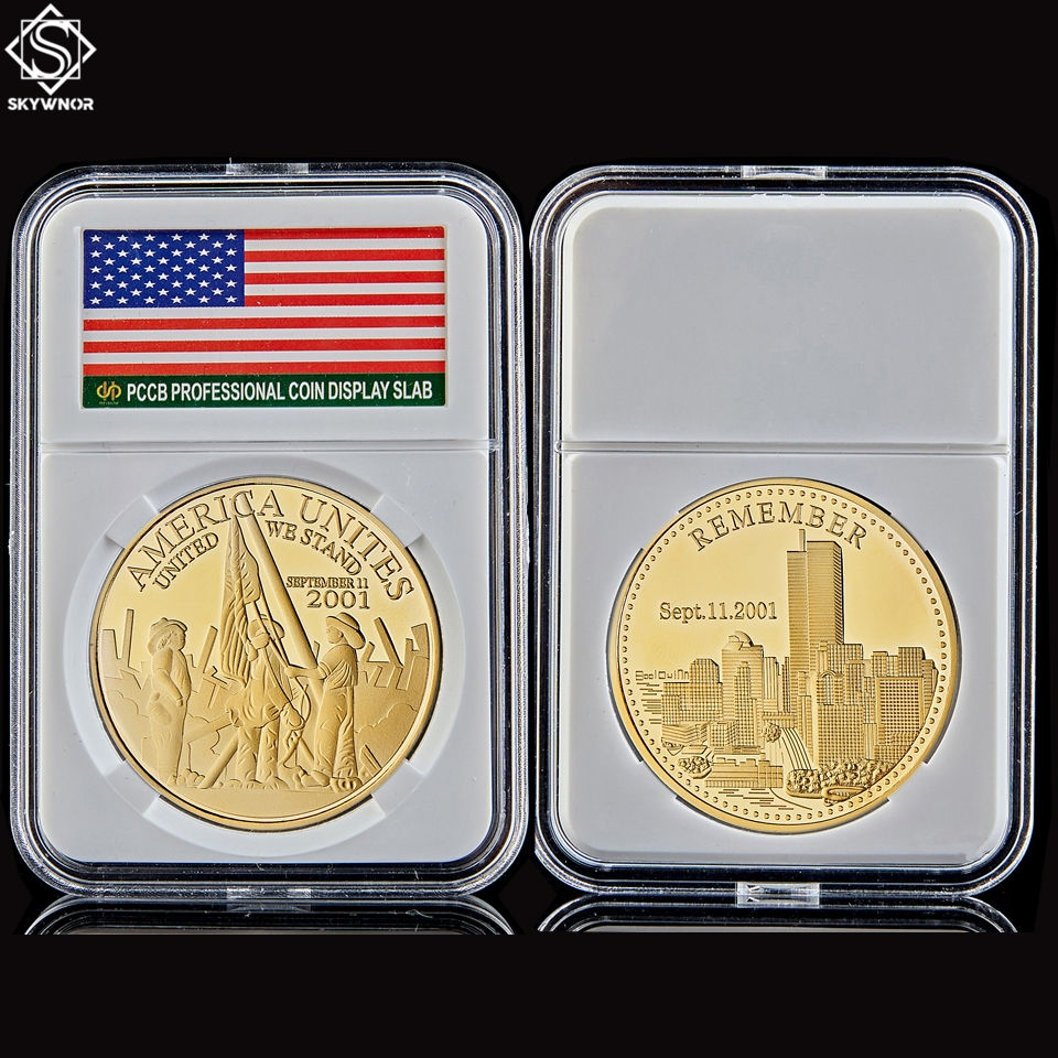2001.9.11 Remember Attacks 1 World Trade Center USA Liberty Freedom United We Stand Gold Recalling History Gold Coin Value image