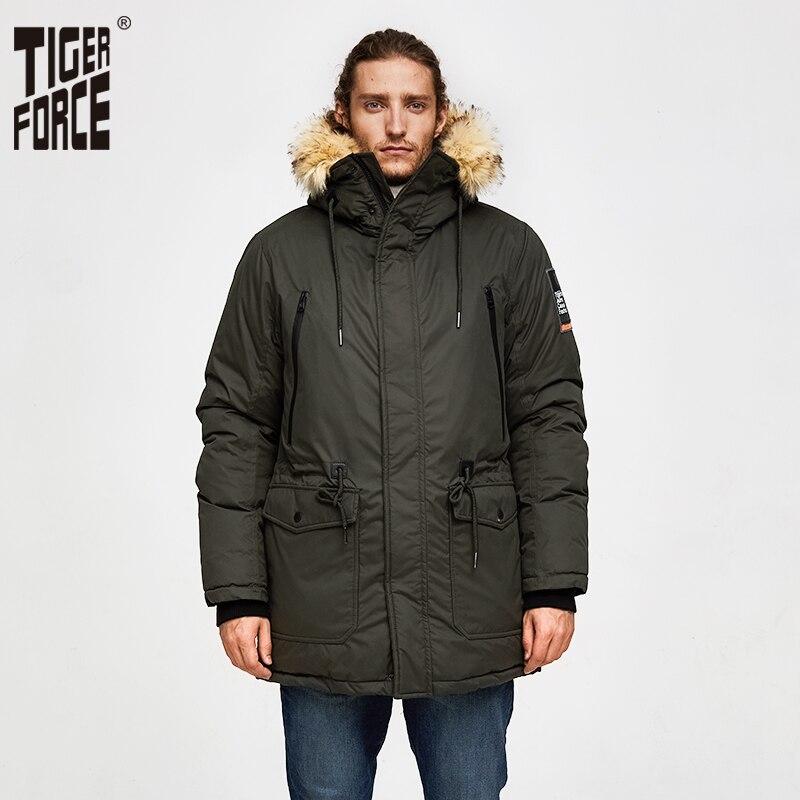 虎力男性パーカーフード付き冬のジャケット人工毛皮の襟暖かいコートアジャスタブルウエスト厚み男性 Snowjacket  グループ上の メンズ服 からの パーカー の中 1
