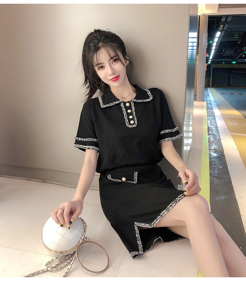 Summer Autumn Knitted Two Piece Sets Women Turn-down Collar Tops + Skirts Mini Elastic Waist Solid Casual 2 Piece Set