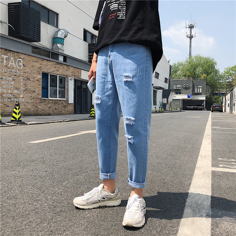 Fashion Men Ripped Jeans Loose Fit Cuffs Cargo Pants 2019 Summer Autumn Streetwear Hip Hop Joggers Ankle Length Jeans