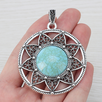 2 x Hollow Boho Large Round Faux Turquoise Stone Flower Charms Pendants for Necklace Jewelry Making 61x55mm stylish faux turquoise carving leaf tassel necklace for women