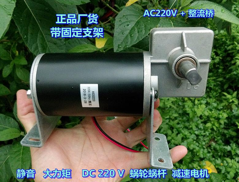 Silent High Torque DC 220 V (AC220V Rectification) Worm Gear Reducer Motor Can Be Reversed