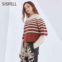 Женский пуловер в полоску sisipell вязаный свитер свободного