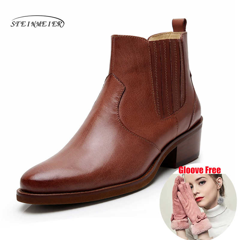 Yinzo kışlık botlar kadınlar hakiki deri ayak bileği bayanlar kısa çizmeler üzerinde kayma ayakkabı 2019 kahverengi kadın çizme Steinmeier