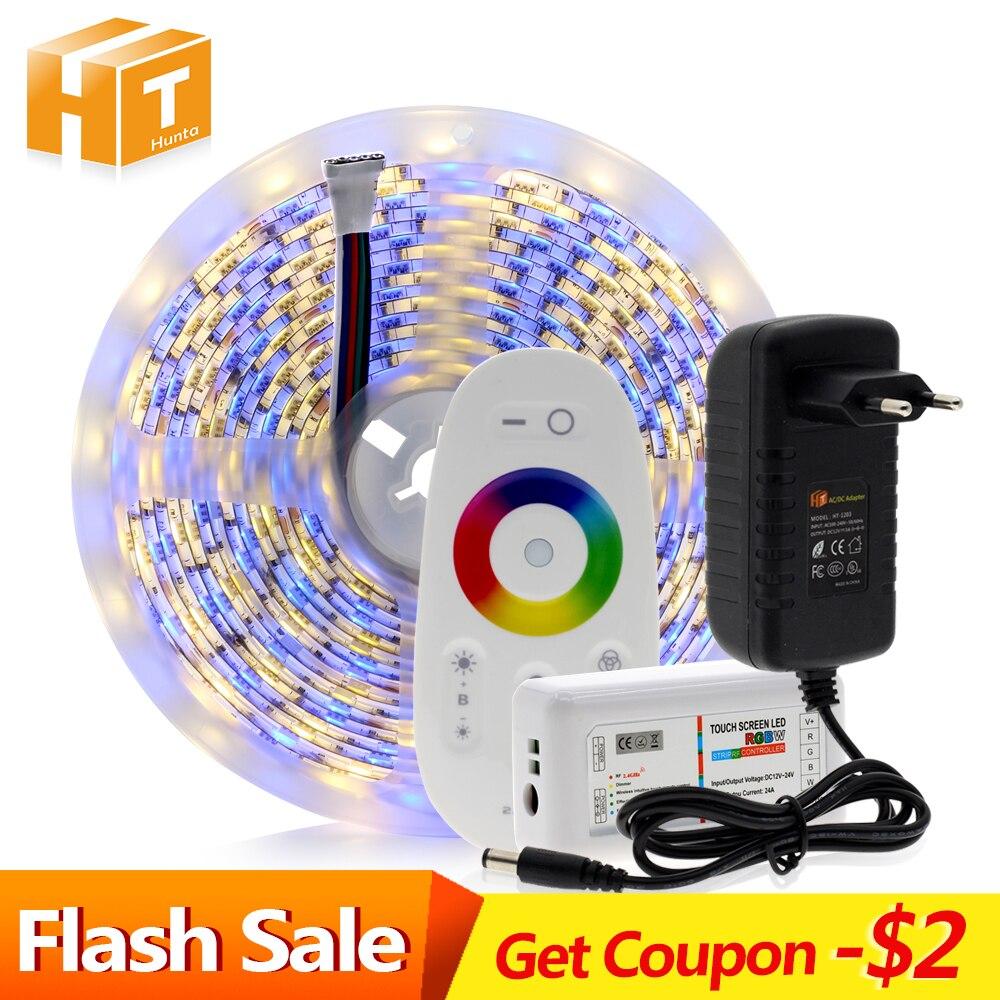 5050 Tira CONDUZIDA RGB/RGBW/RGBWW 5M 300LEDs RGB Cor Mutável Flexível do DIODO EMISSOR de Luz + Remoto controlador + Adaptador de Energia 12V 3A