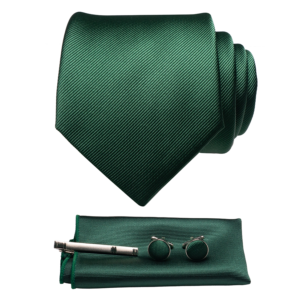 JEMYGINS Original New Solid Silk Tie Male Formal Plain Red Necktie Pocket Square Hanky Cufflinks Set For Men Party Wedding