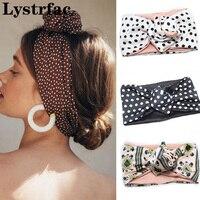 Lystrac-Diadema Vintage con estampado de lunares para mujer, turbante, Bandana de alambre, banda para el pelo, tocado multiusos ajustable, accesorios para el cabello