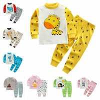 Mädchen Cartoon Nachtwäsche Anzug Casual Kinder Baumwolle Pyjamas Sets Jungen Kleidung Set Kinder Lange-ärmeln T-shirt + hose 2 stücke