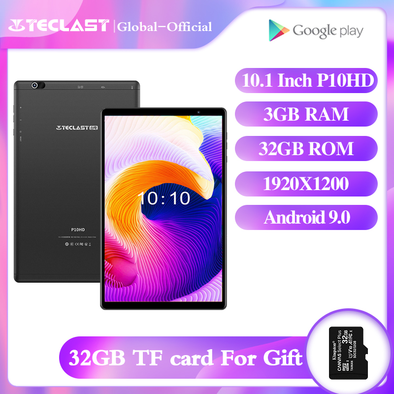 Teclast p10hd tablet 10.1 polegada octa núcleo android 9.0 3g ram 32g rom 1920 × 1200 tablets 4g rede câmeras duplas wifi gps tablet pc